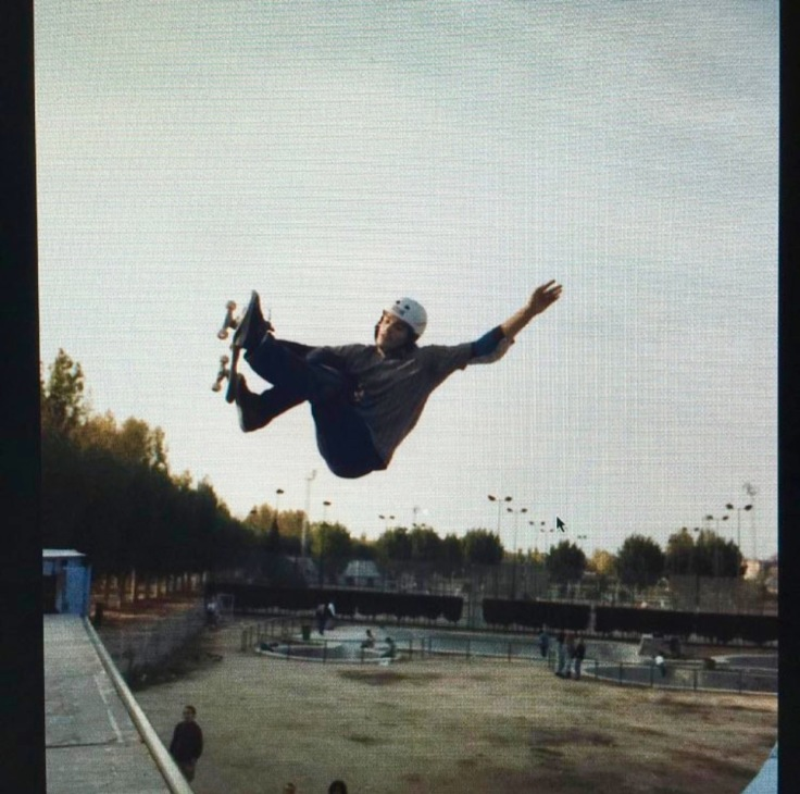 Hayon in his skateboarding heydays